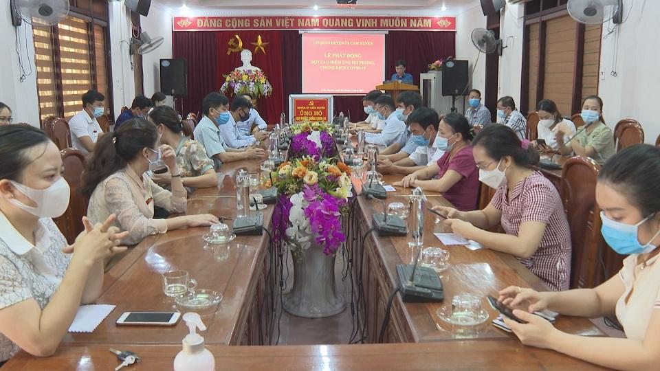 Huyện ủy Cẩm Xuyên, UBND thị trấn Cẩm Xuyên tổ chức lể quyên góp ủng hộ quỹ phòng chống dịch Covid 19