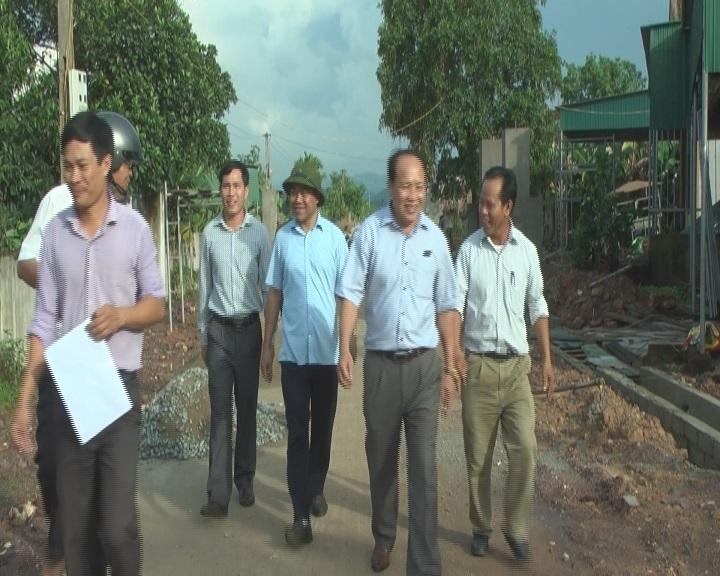 Thường trực Huyện ủy kiểm tra tiến độ xây dựng Nông thôn mới ở xã Cẩm Thạch